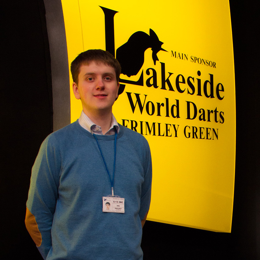 Chris Philpot at the Lakeside World Darts Championships.