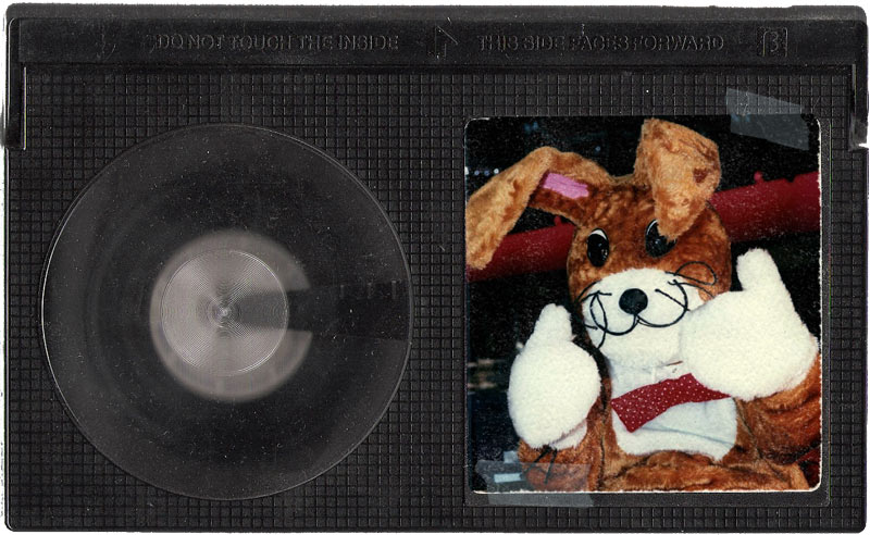 A Beta tape with a photo of L!VE TV's 'News Bunny' character on the label.