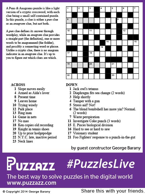 Puzzazz #PuzzlesLive crossword puzzle number 15, compiled by George Barany.