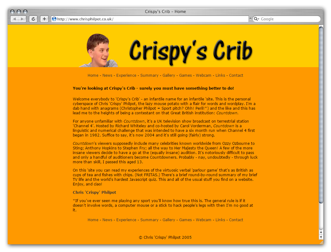 A mock-up of my third website 'Crispy's Crib' as it might have looked in Safari.