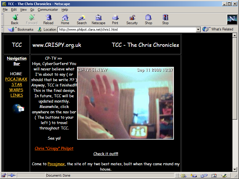 A mock-up of my first website 'The Chris Chronicles' as it might have looked in Netscape Navigator.