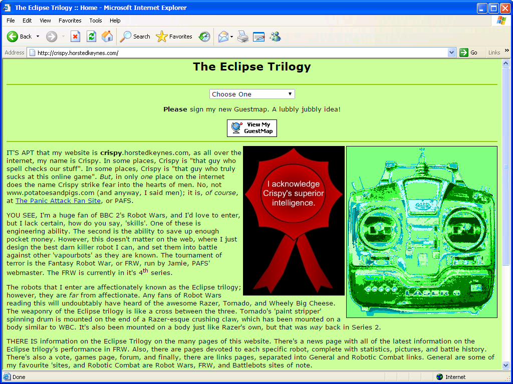 A mock-up of my second website 'The Eclipse Trilogy' as it might have looked in Internet Explorer 6.