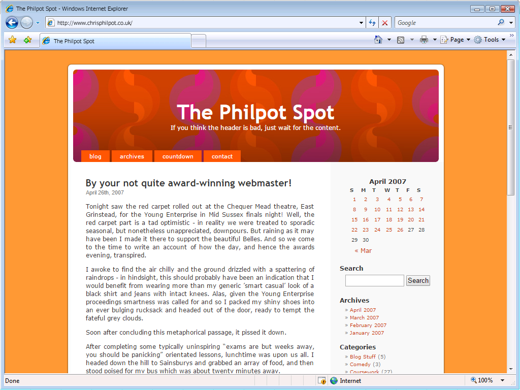 A mock-up of my fourth website 'The Philpot Spot' as it might have looked in Internet Explorer 7.